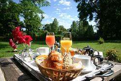Континентальный завтрак на природе: круасаны и сок