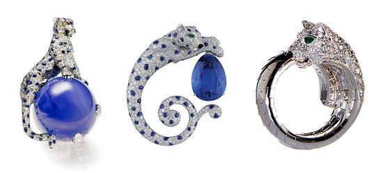 Пантеры 1948 года от Cartier и использование этого мотива сегодня (кольцо справа)